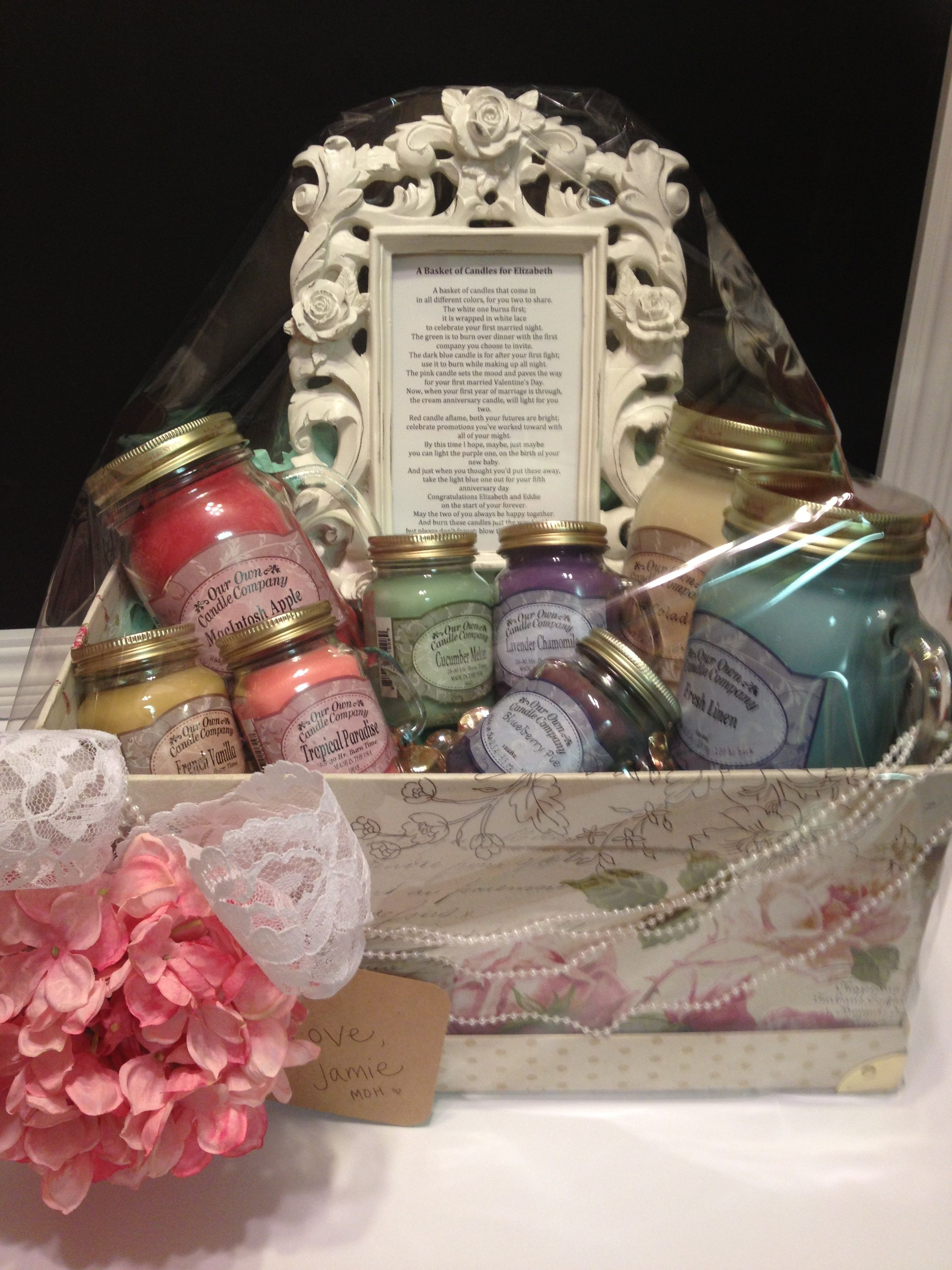 Basket of candles with poem for newlyweds. Wedding