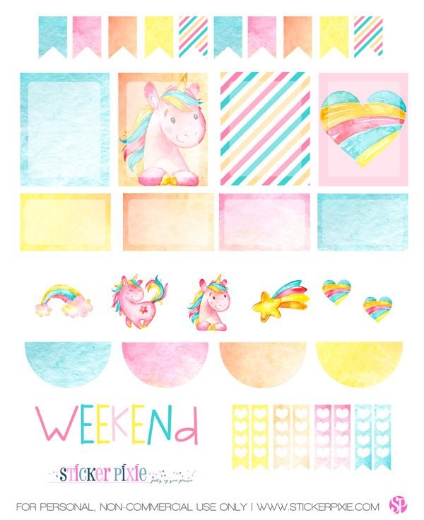 Free Printable Unicorn Planner Stickers from Sticker Pixie   Planners & Bullet Journals ...