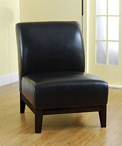 Cole Black Leather Chair | Overstock.com Shopping   The Best Deals On  Living Room Chairs