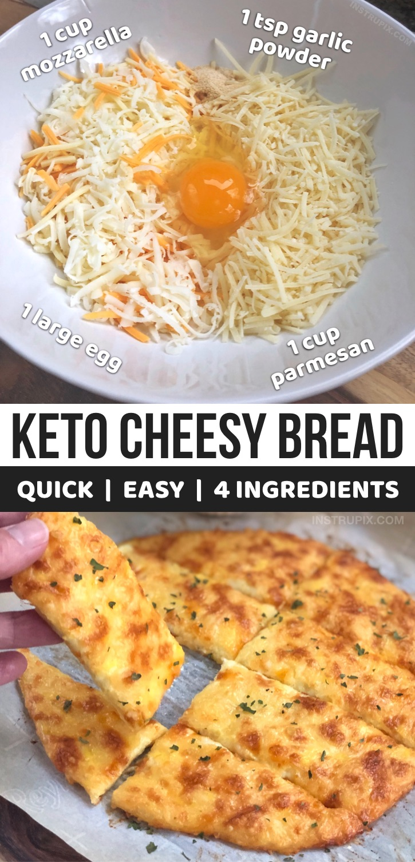 Keto Cheesy Garlic Breadsticks (4 Ingredients)