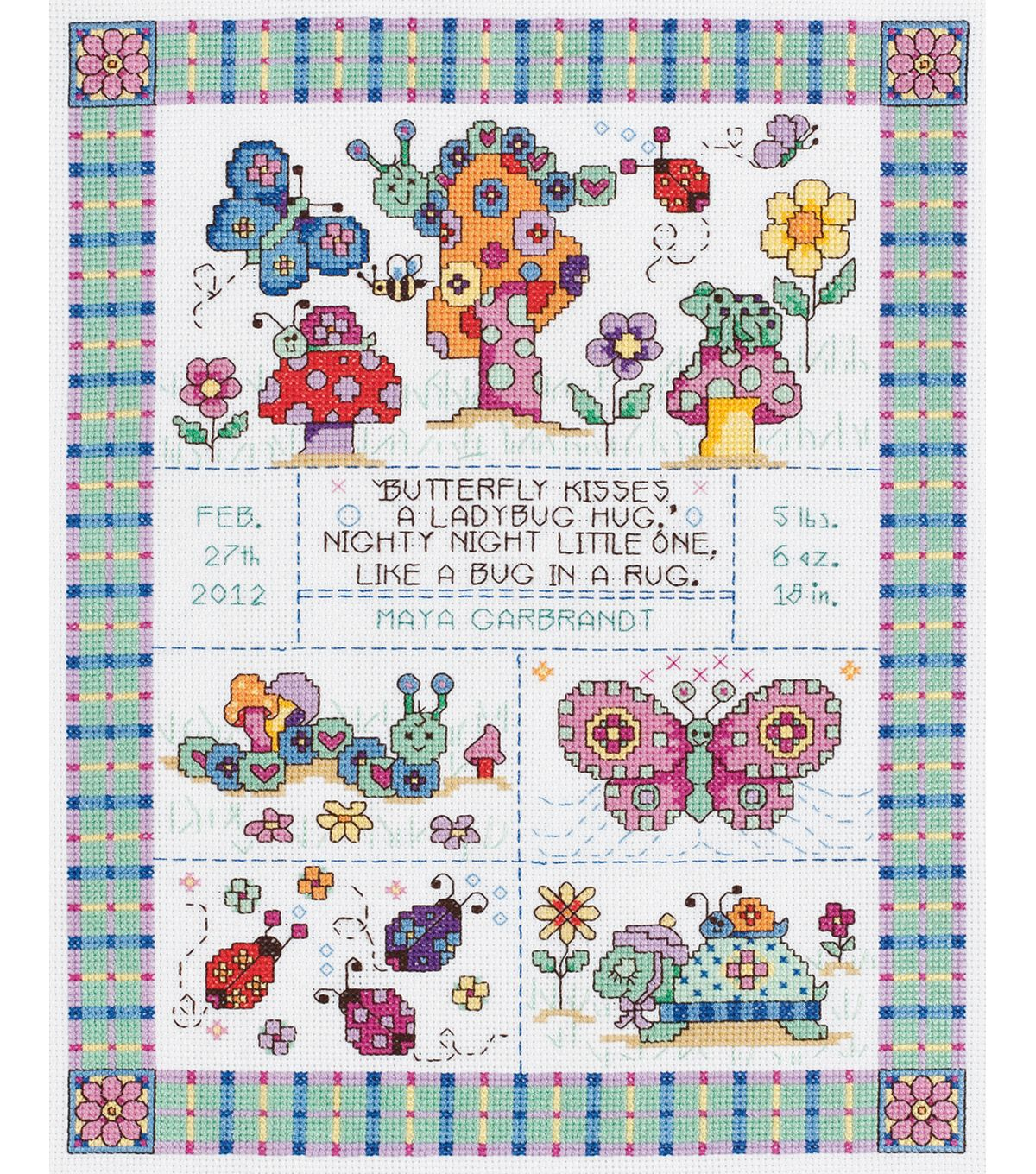 Bug In A Rug Birth Announcement Counted Cross Stitch Kit 9