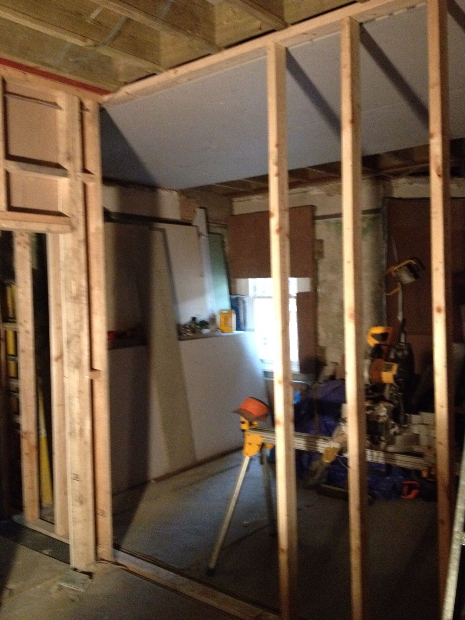 New Bedroom Partition Stud Wall, With Barn Door Opening