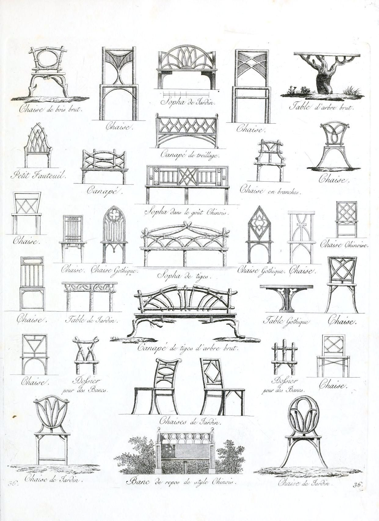 Rococo furniture sketch - Vintage European Garden Furniture Design Printable From Vintage Printable