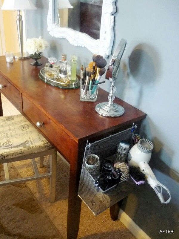 Hair Tool Caddy On Side Of Vanity For Hidden Storage.