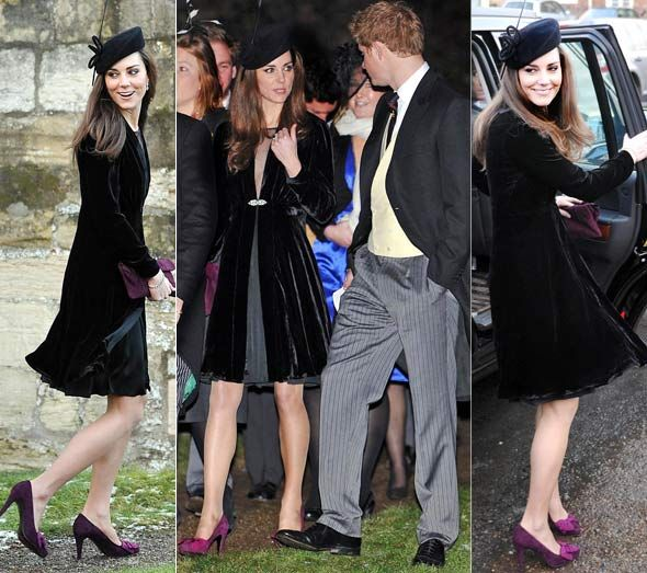 Kate wearing Mascaro purple suede shoes with grosgrain bow