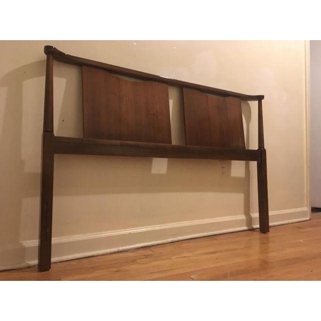 image of mid century modern solid walnut headboard full size room