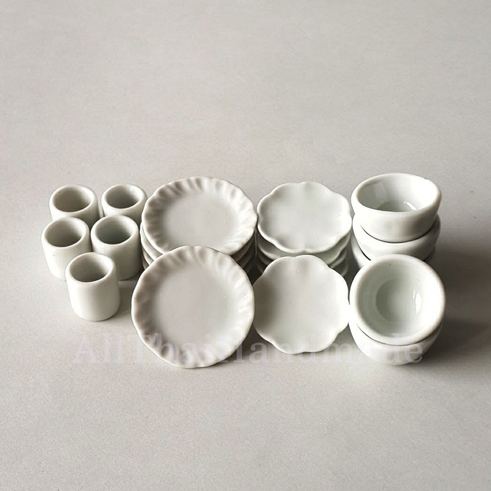 Lot 20 White Kitchenware Plate Dish Cup Bowl Dollhouse Miniatures ...