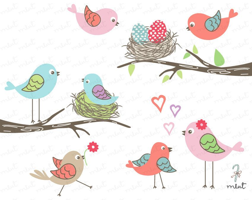Love Birds Digital Clipart Set for Scrapbooking, Invitation, Photo card - BUY 1 GET 1 FREE. $5.00, via Etsy.