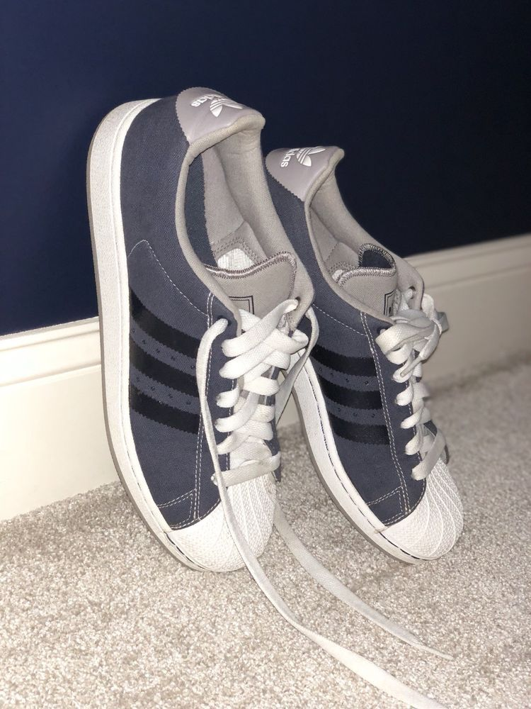 ac1758fcf950 Adidas Superstars  Dark Blue Grey and White  fashion  clothing  shoes   accessories  mensshoes  casualshoes  ad (ebay link)