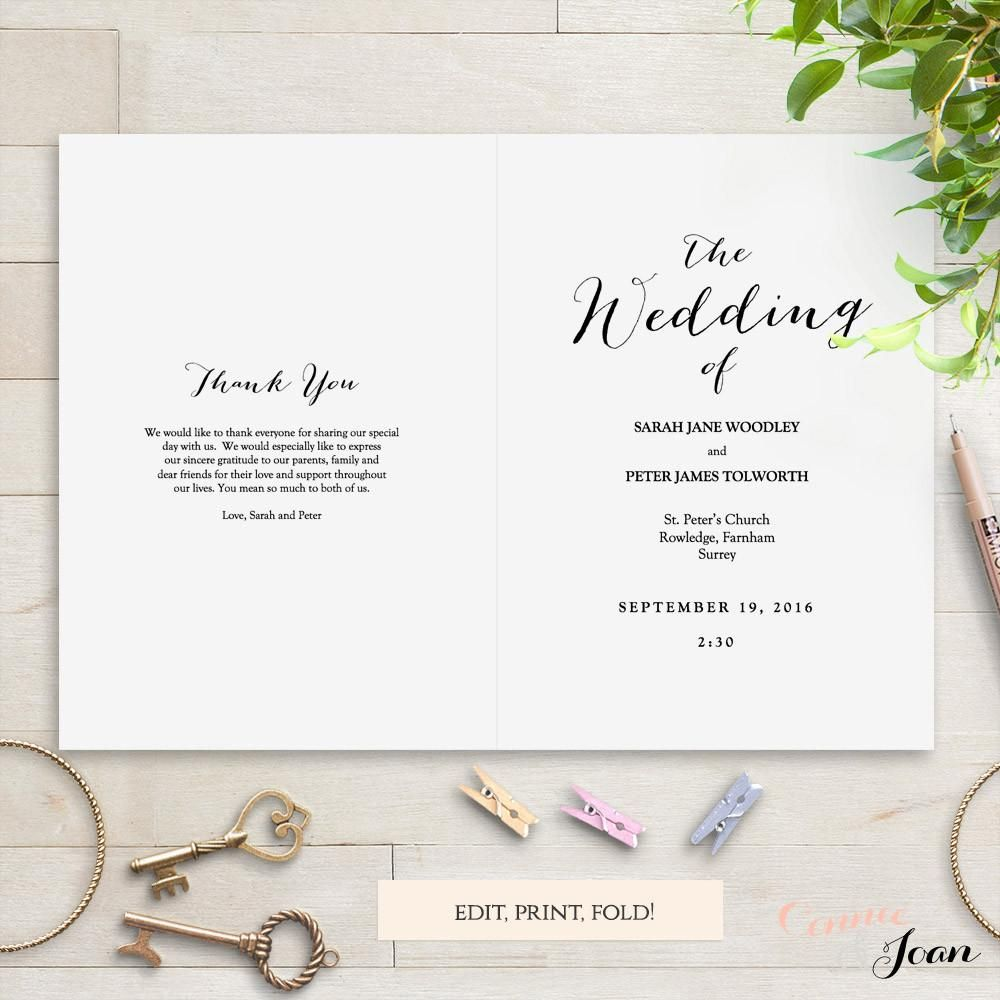 Printable Folded Wedding Program Template Front And Back Ceremony - Wedding invitation templates: wedding order of service template