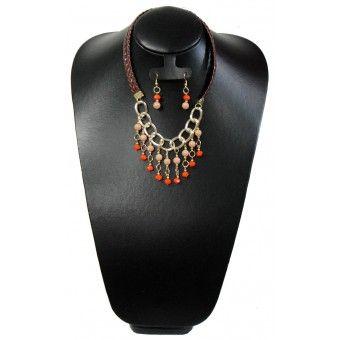 Juego de Collar y Aretes con Perla, Cristal, Cadena de Aluminio y Piel Sintética