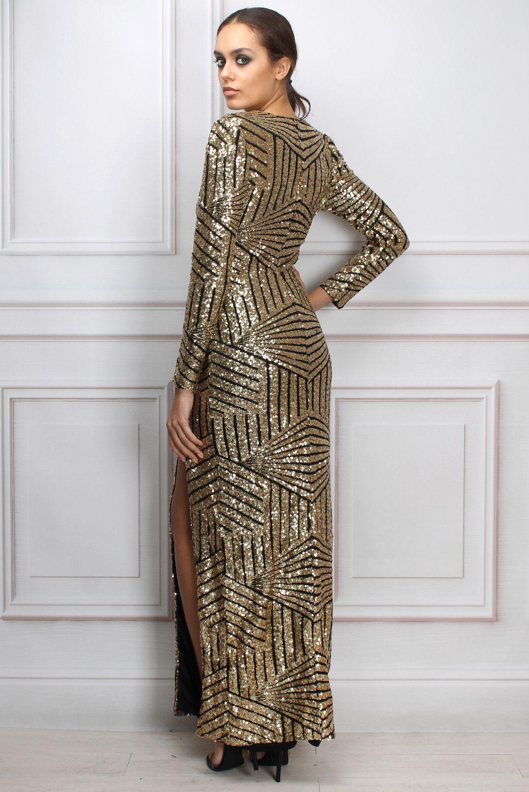 Sam Faiers Wears Gold Long Sleeve Sequin Maxi Dress | Rare London ...