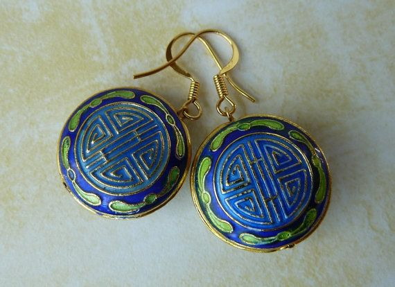 Blue and Gold Cloisonne Earrings OOAK by missbsboutique on Etsy, $18.00