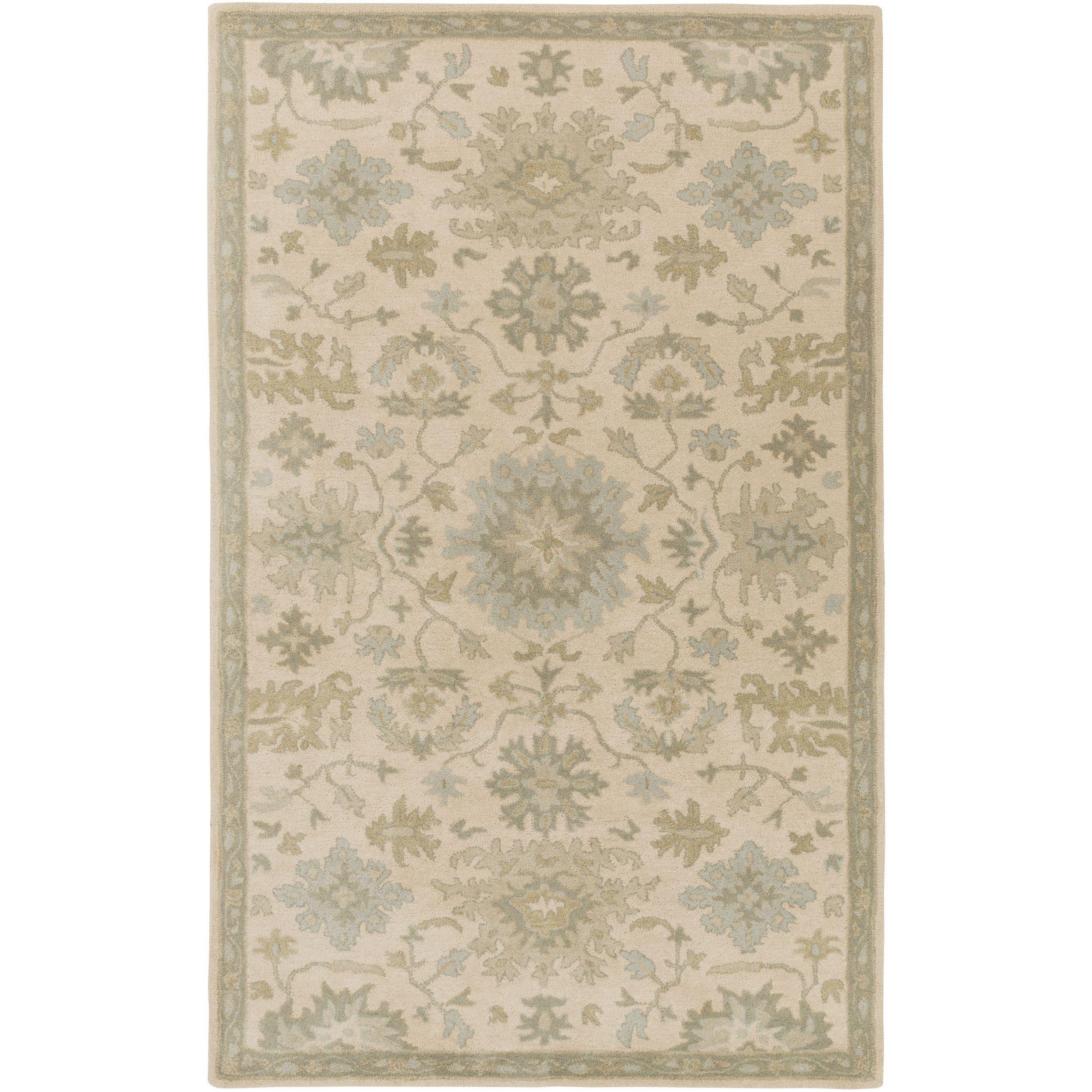 Hand Tufted Tipton Floral Wool Rug 10 X 14 Beige 10 X 14