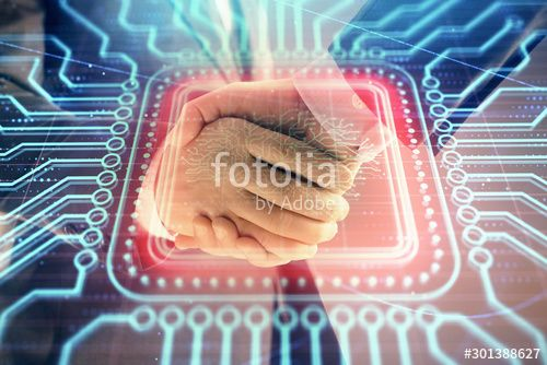 Multi exposure of human brain drawing on abstract background with two men handshake Concept of data technology in business