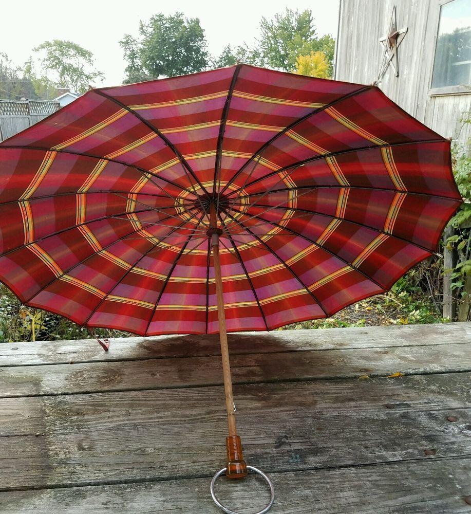 Vintage umbrella Parasol Plaid Fabric Wood Lucite Handle Metal Hanger Ring 1920s