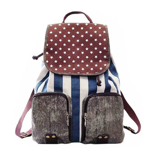 Distressed American Flag Canvas Backpack (Blue) Pomelo http   www ... 3e5e2d6abb