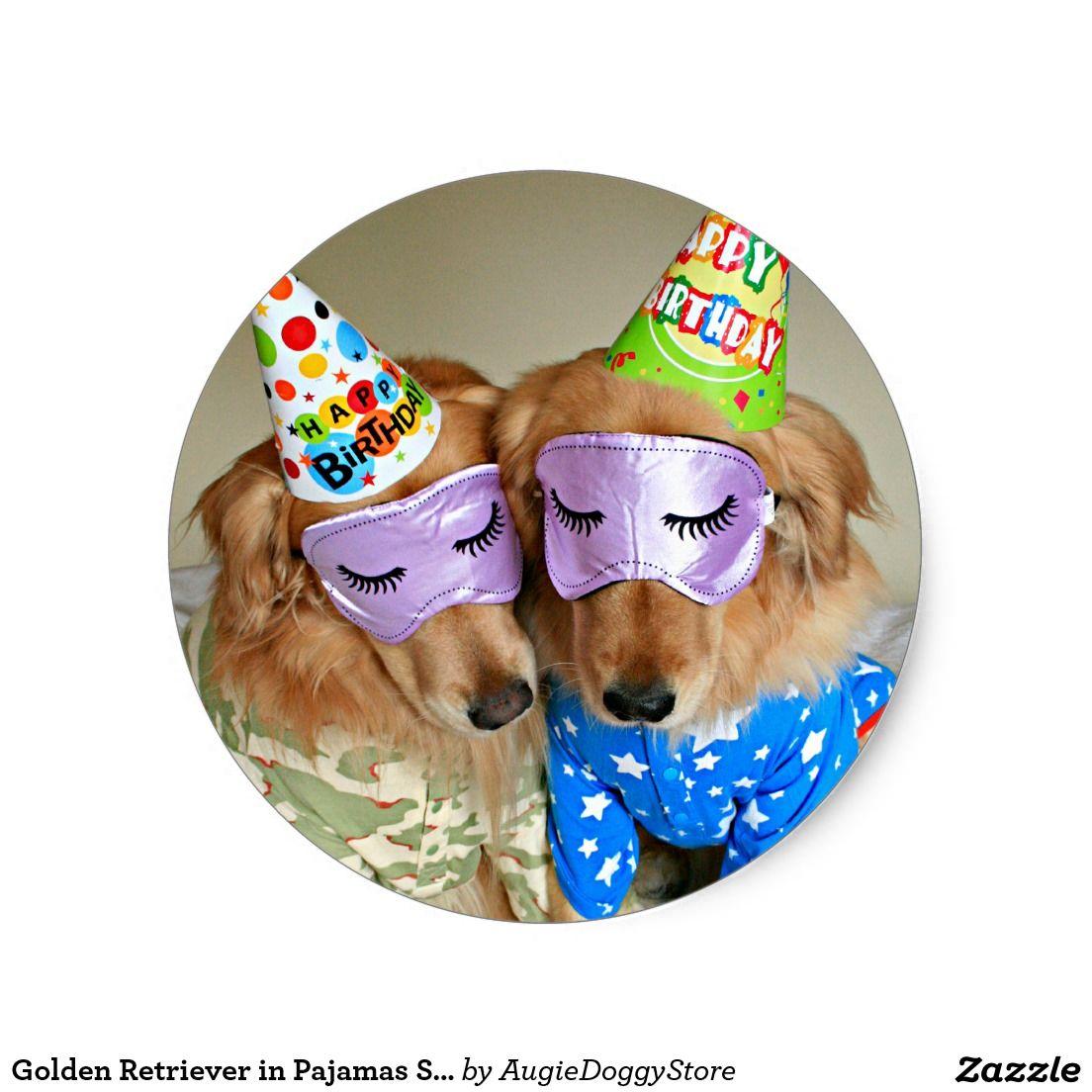 Golden retriever in pajamas sleep mask birthday classic
