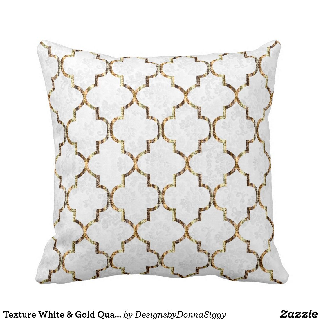 gold quatrefoil pattern throw pillow