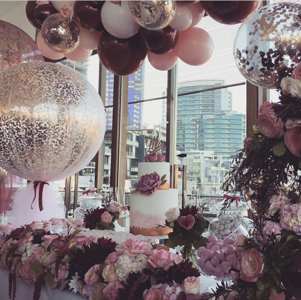 A Beautiful Setup In Rose Gold Burgundy And Baby Pink For Mia S Christening Held At Berth 21 Birthday Party Decorations Birthday Decorations 21st Decorations