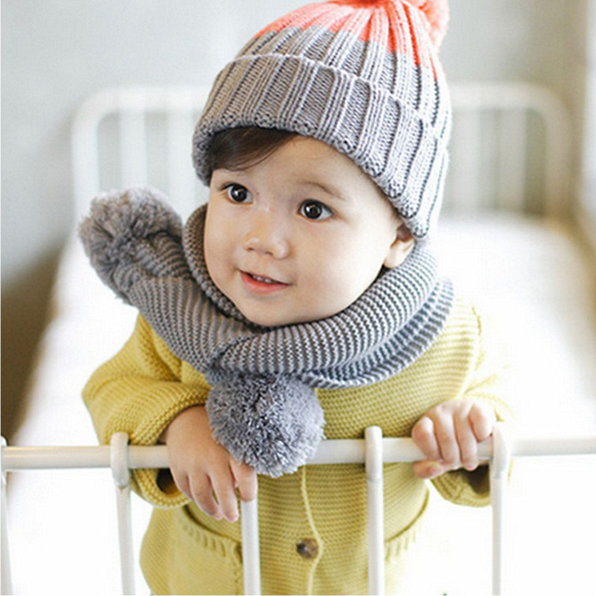 Winter Children Baby Boys Girls Knitted Neck Warm Scarf Wrap Ball Infant Kids  Neck Wool Scarves Gift b40b6066085a