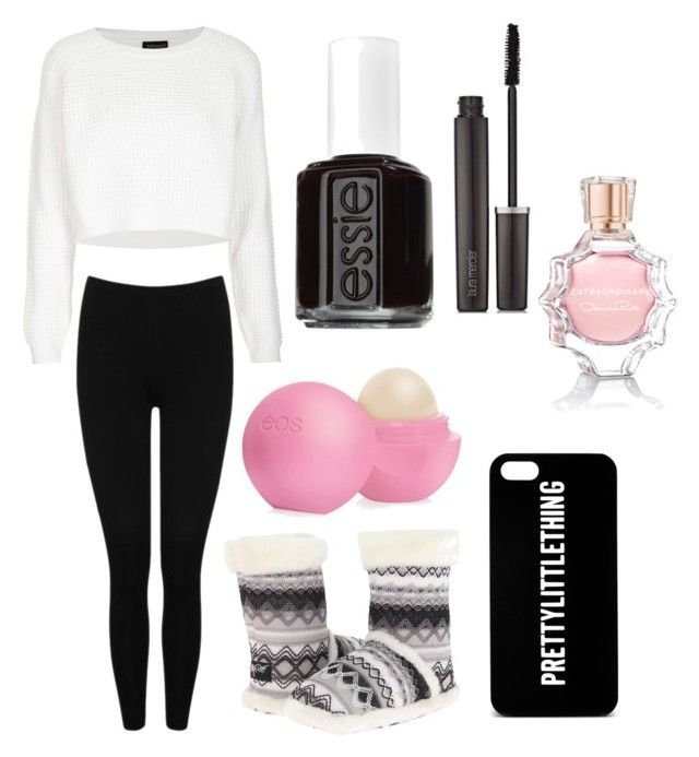 """""""Chilled at home"""" by shamya2003 ❤ liked on Polyvore featuring Topshop, M&Co, M&F Western, Essie, Laura Mercier, Eos and Oscar de la Renta"""