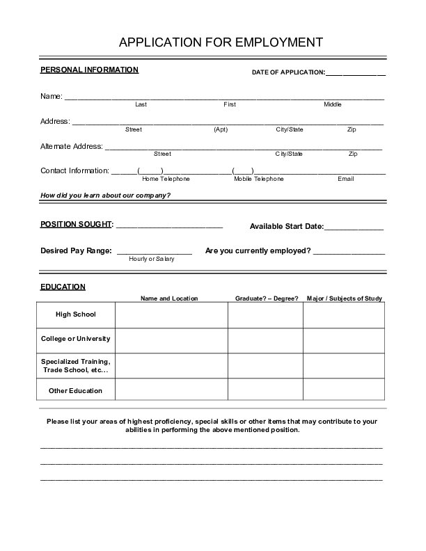 Blank Job Application Form Samples Download Free Forms Templates In Pdf Word Printable Job Applications Job Application Job Application Form