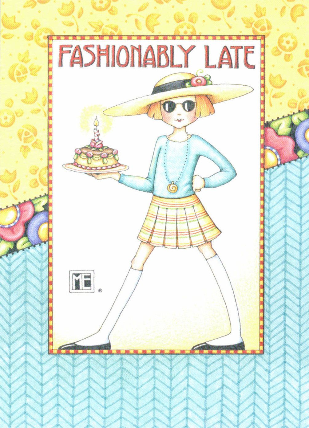 Details about Mary Engelbreit-FASHIONABLY LATE CAKE ...