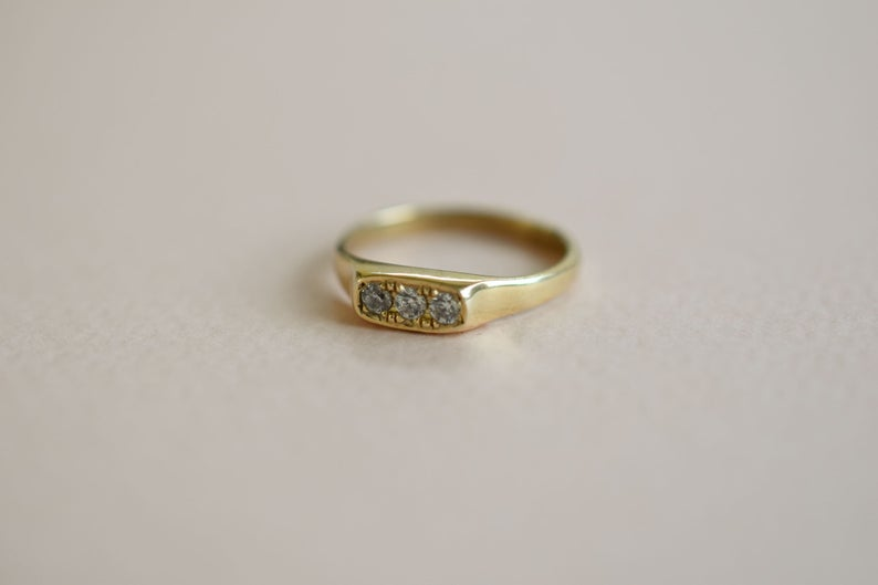 3 Diamond Ring Gold Ring With Three Diamonds Three Diamonds Etsy Gold Rings Handcrafted Engagement Ring Three Diamond Ring