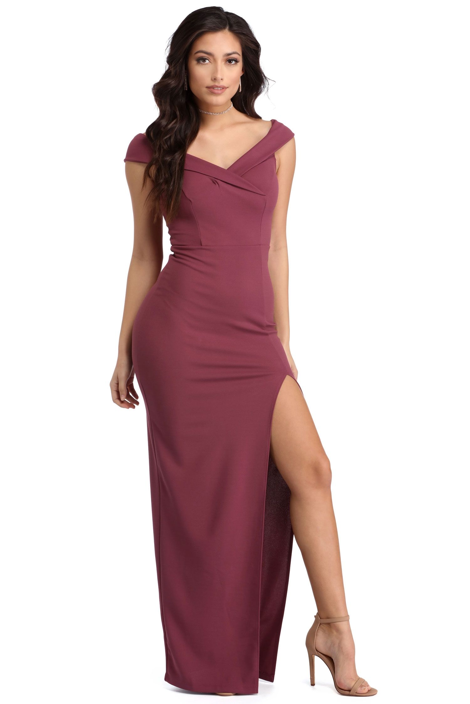 de87532bb19f Elle Mauve Off The Shoulder Dress