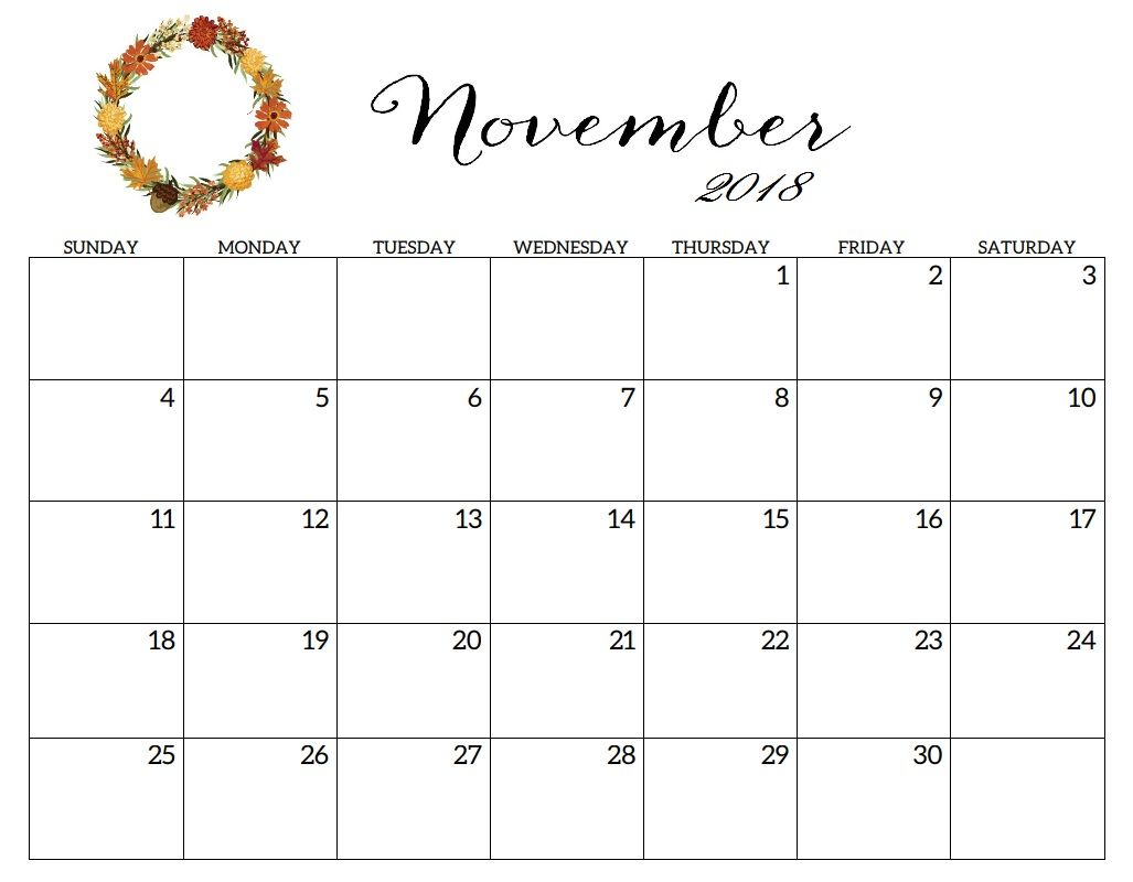November Calendar Daily Worksheet