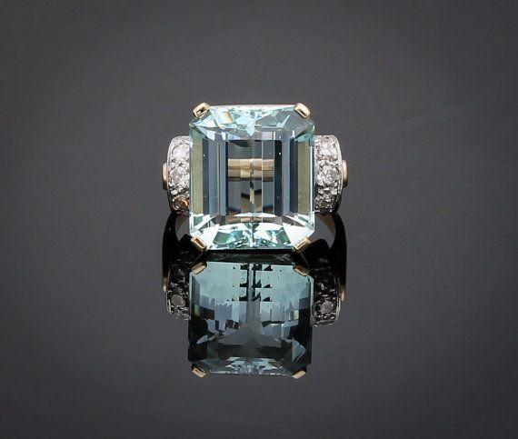 12 carat aquamarine diamond statement ring Yellow gold light