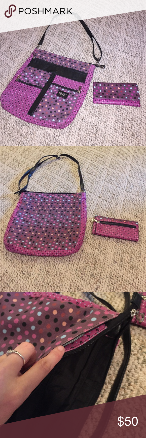 Relic Cross body Purse & Wallet Purple polka dotted purse and wallet by Relic! I cut the handles off but not noticeable. Has adjust shoulder strap. Wallet is like new. Has plenty of slots for cards and money and a zip pocket on back for change. Purse and wallet used twice!! EUC Relic Bags Crossbody Bags