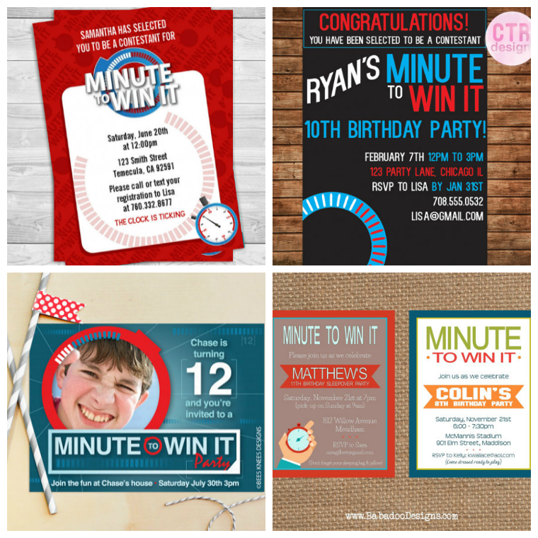 minute-to-win-it-birthday-party-invitations | Notes | Pinterest ...