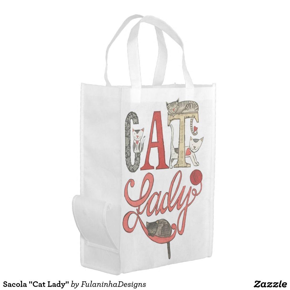 "Sacola ""Cat Lady"" Sacolas Ecológicas"