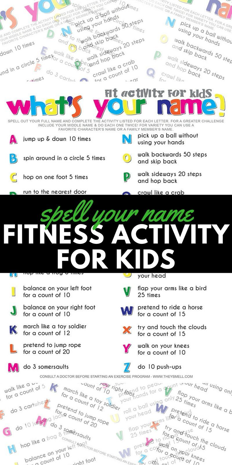 Spell Your Name Workout What S Your Name Fitness Activity Printable For Kids Spell Your Name Workout Exercise For Kids Workout Names