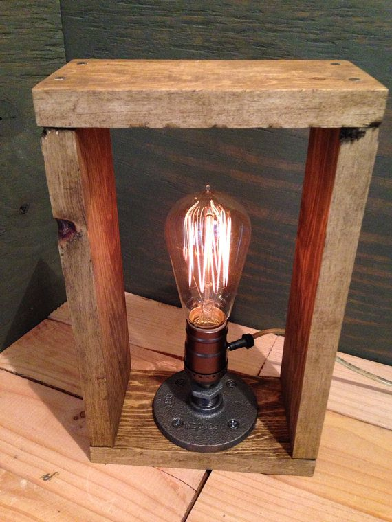 Edison Shadow box L& - Industrial light - Repurposed wood in oak - Vintage bulb l& & Edison Shadow box Lamp - Industrial light - Repurposed wood in oak ... azcodes.com