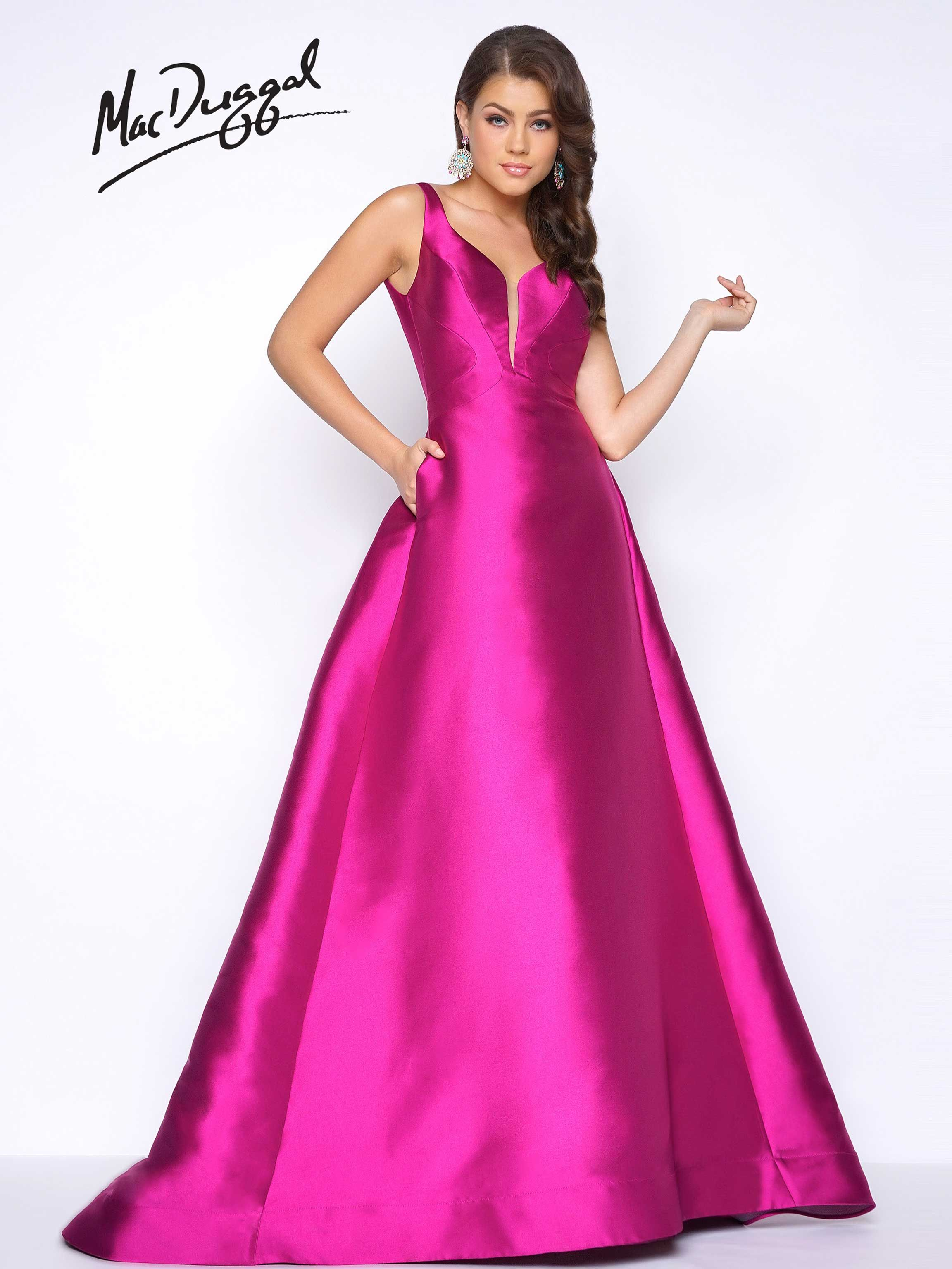 Sleeveless, satin, A-line floor length ball gown with open back and ...