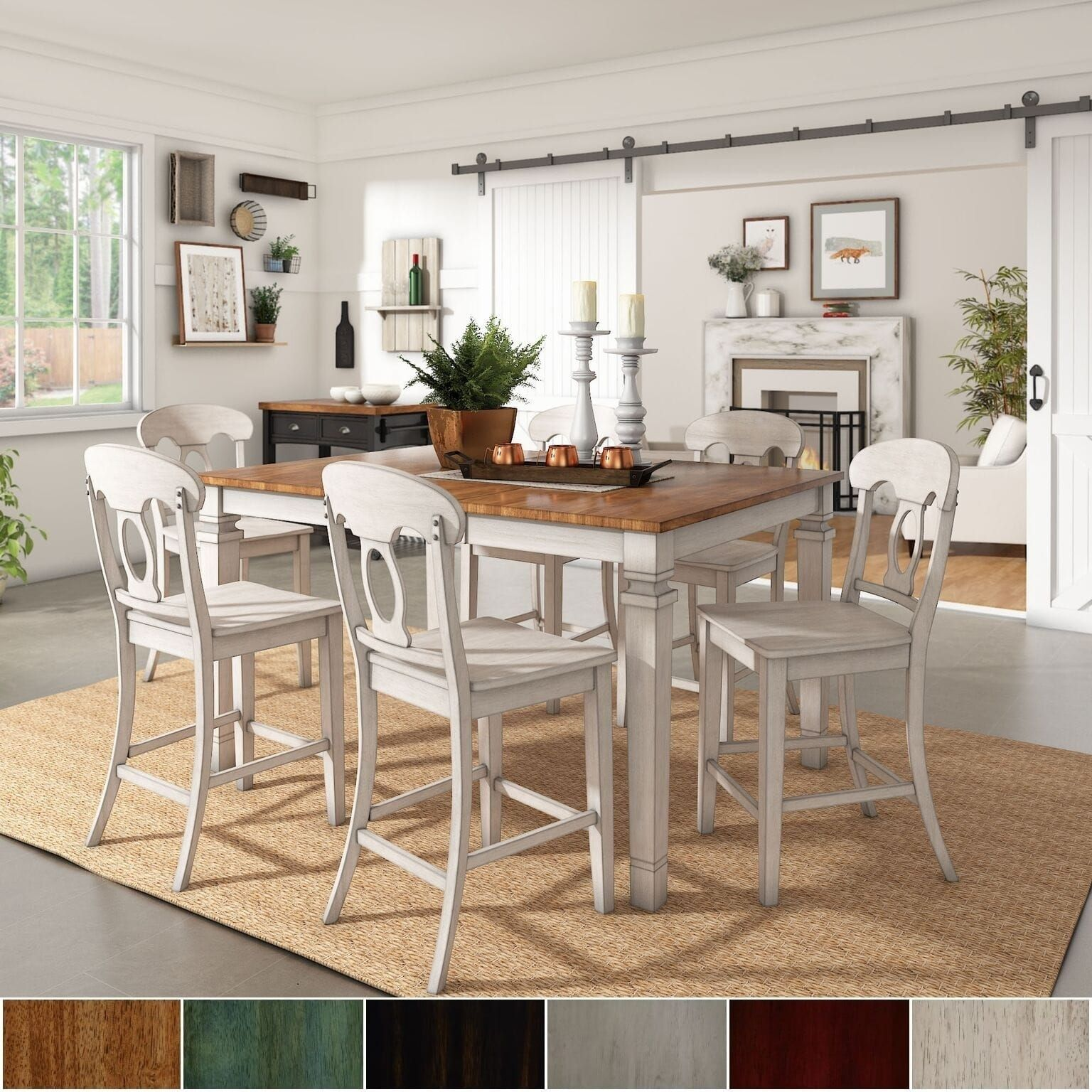 Barmöbel Set Elena Antique White Extendable Counter Height Dining Set