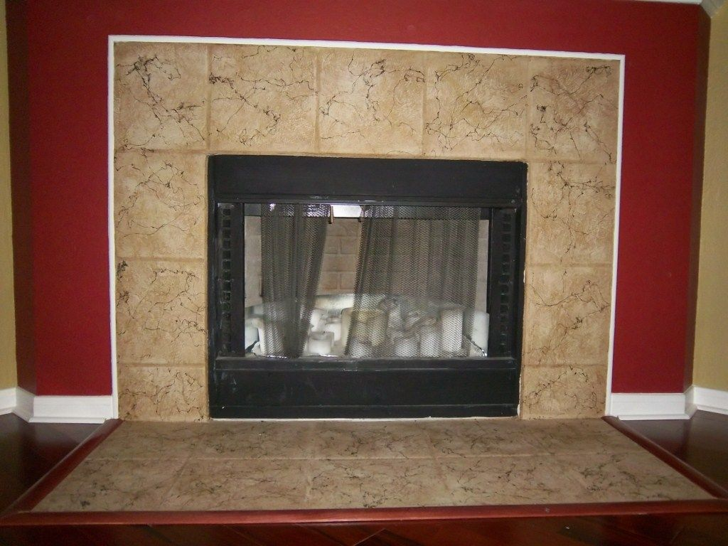 Tile Fireplaces Design Ideas blue and gray glass fireplace surround design ideas with regard to glass tile fireplace surround Candi In Texas Refinishes Her Tile Fireplace Surround Easily With Caromal Colours