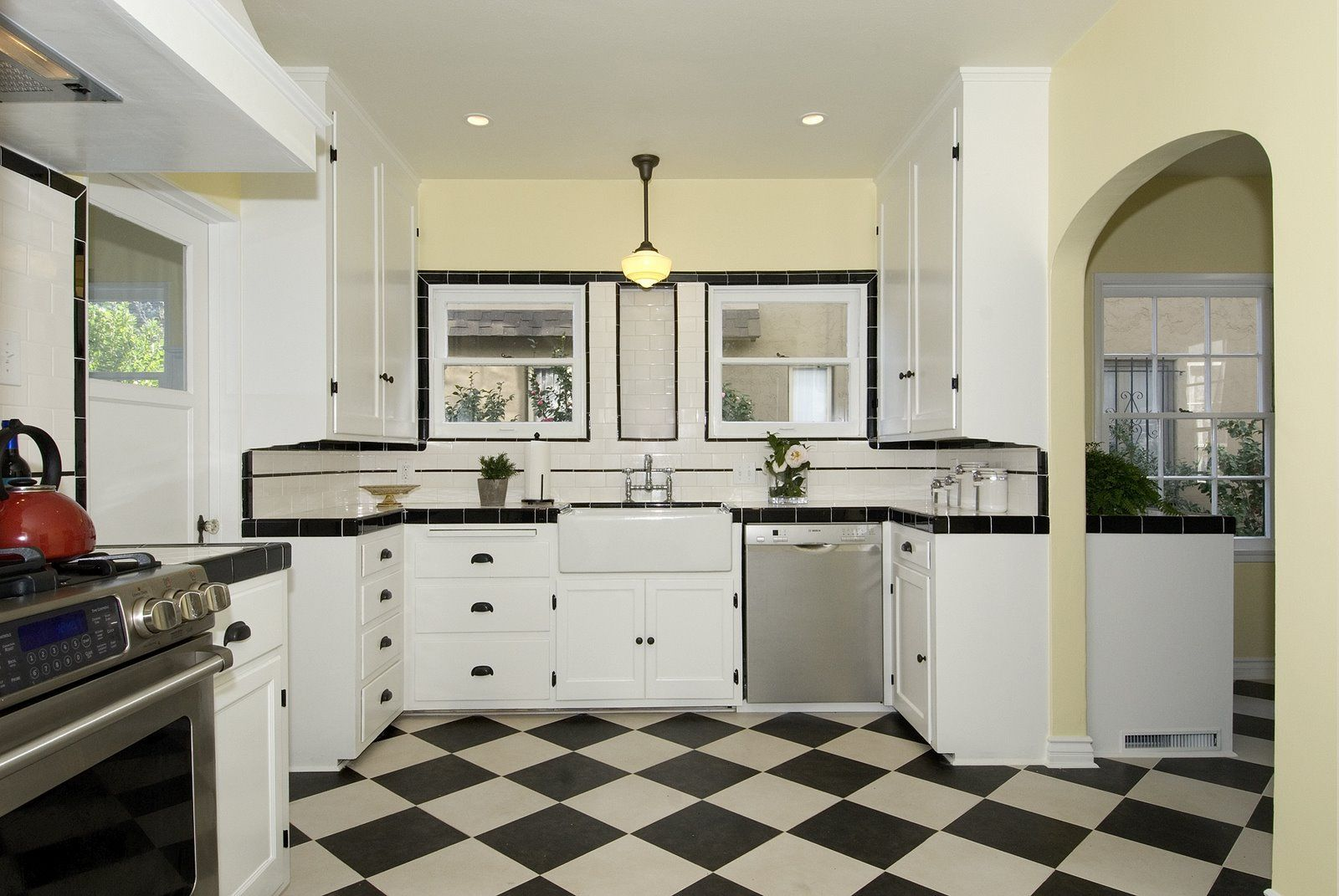 dark gray/off black and cream checkered floor instead of black and ...