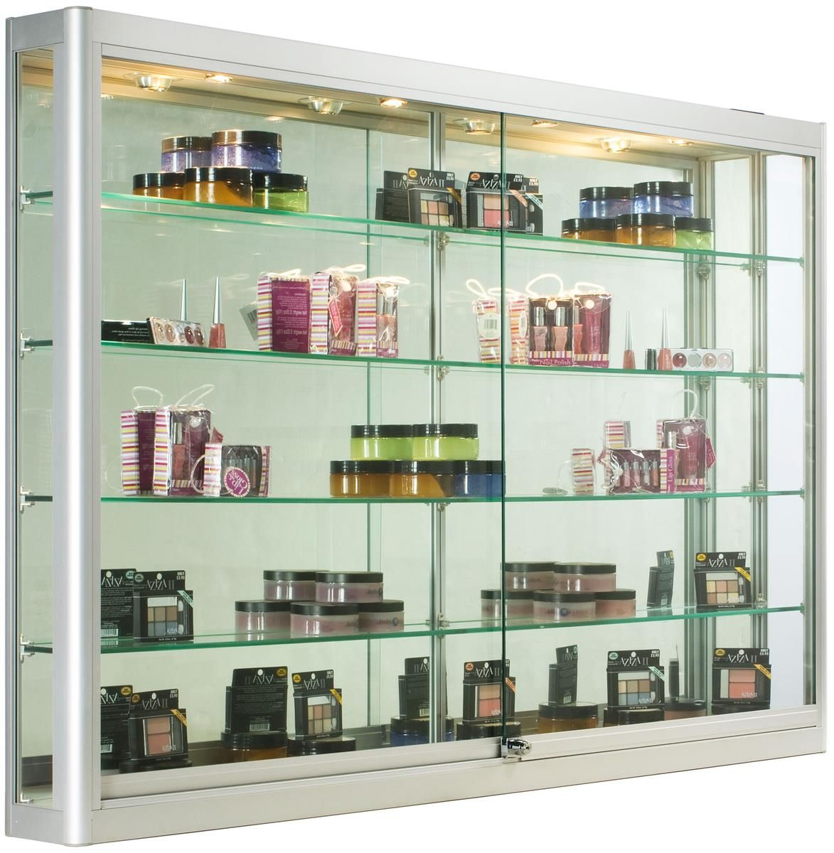 5ft Wall Mounted Display Case W 4 Top Halogen Lights Mirror