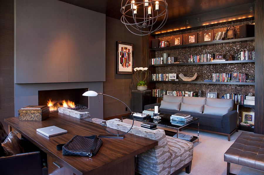 Stylish Home Office With Plenty Of Shelf Space And A Chic Fireplace    Decoist