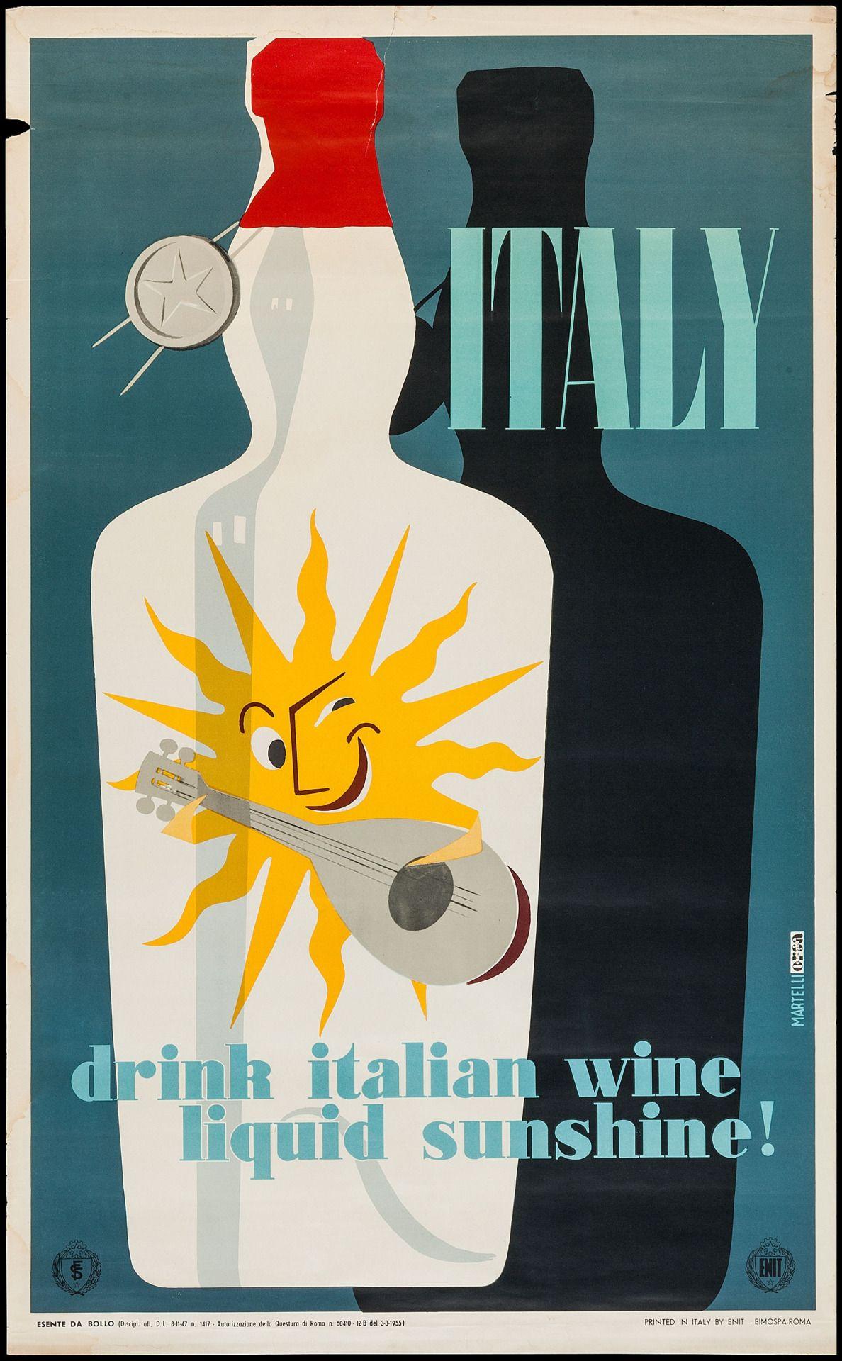 Italy Travel Poster (Enit, 1955) Drink Italian Wine, Liquid Sunshine