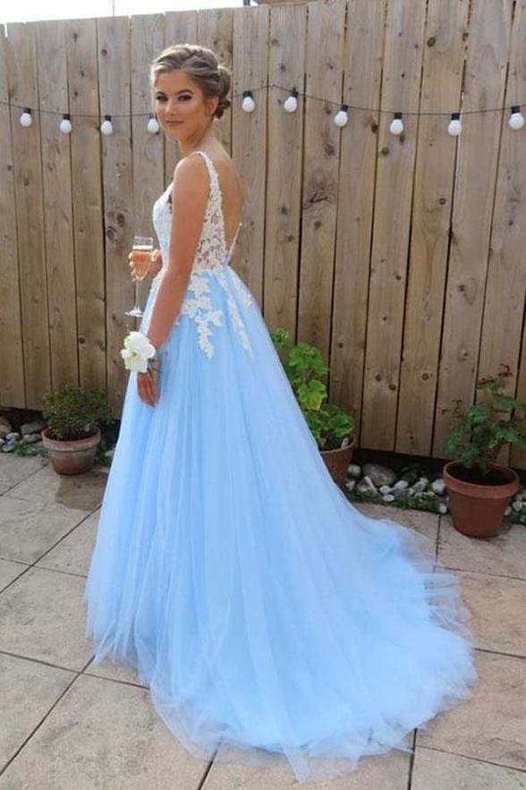 A Line V Neck White Lace Light Blue Tulle Backless Prom