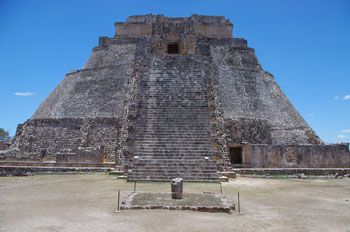 At Uxmal, Mexico, a tapered stone marker in front of the Pyramid of the Magician casts a minimum shadow when the Sun reaches the zenith—the ...