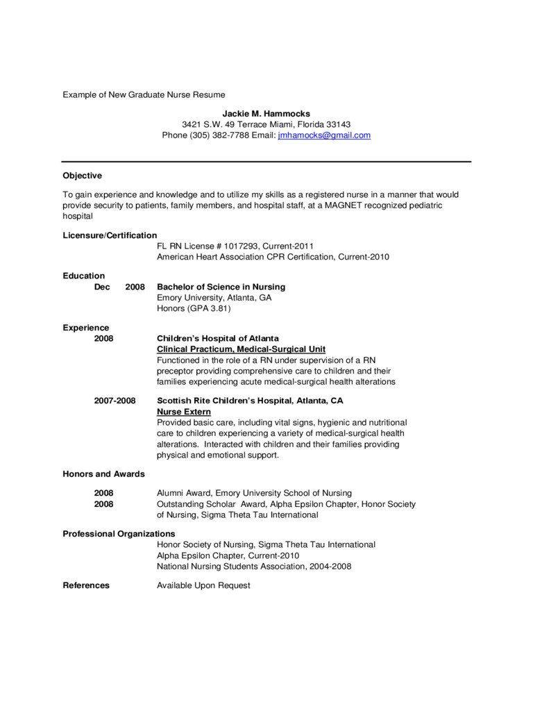New Grad Nurse Resume New Grad Nursing Resume Template Samples
