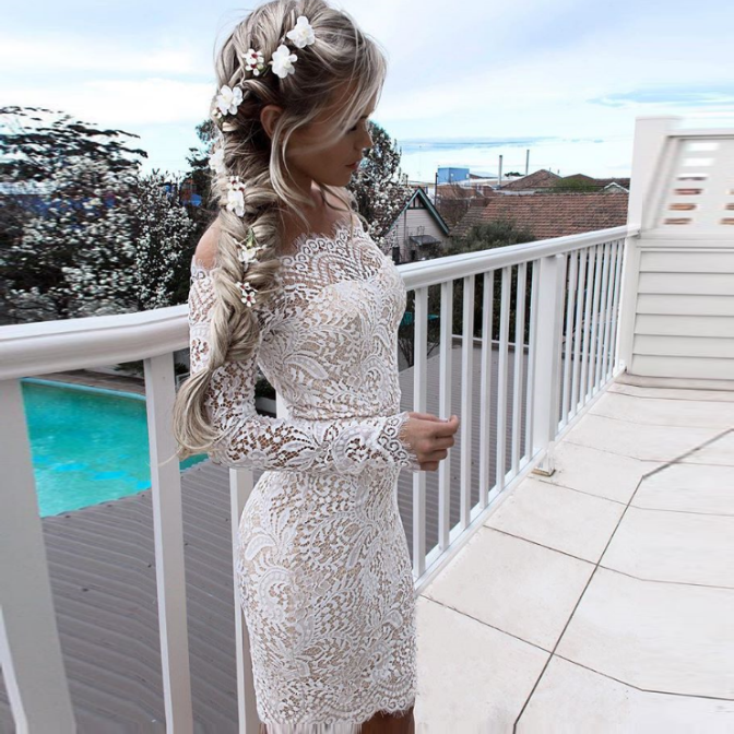 Tight Off-the-Shoulder Long Sleeves White Lace Homecoming Cocktail Dress