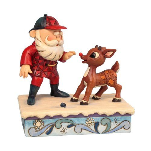 $34.95-$35.00 Rudolph Jim Shore Christmas from Enesco Rudolph & Santa Figurine 3.15 IN - Santa is in his hunting suit.  Rudolph has lost his black nose and his 'real' nose is discovered. http://www.amazon.com/dp/B0053HH87I/?tag=pin2wine-20