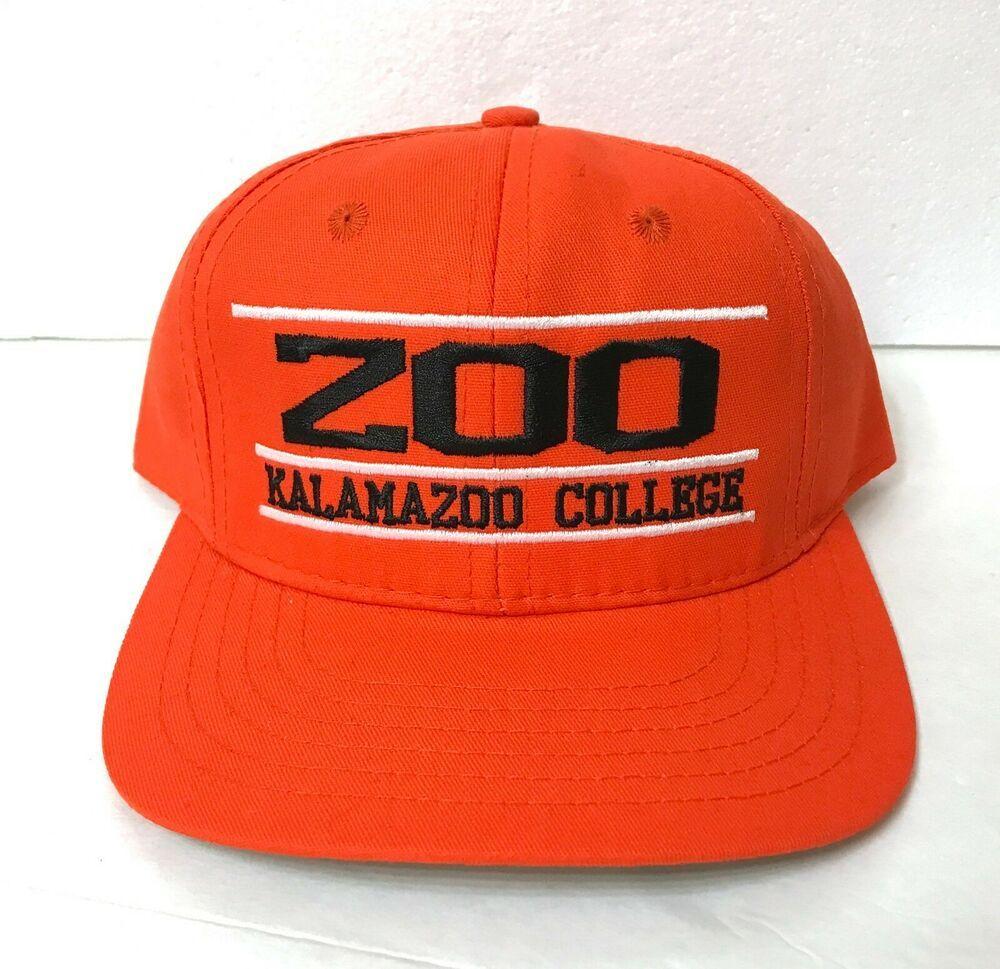 rare vtg KALAMAZOO COLLEGE SNAPBACK HAT orange black white